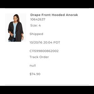 Draped front hooded anorak